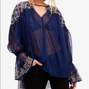 NEW FREE PEOPLE Joyride Top Sheer Ruffle Cuffs LS